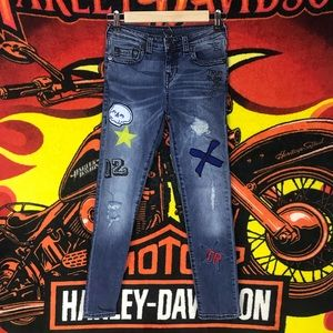 TR Rare Abstract Jeans Patched Painted Graffiti